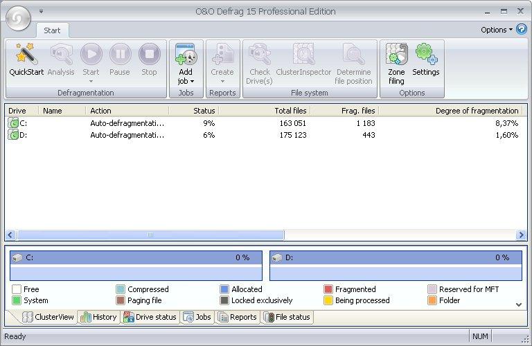 Рабочее окно программы O&O Defrag дефрагментация