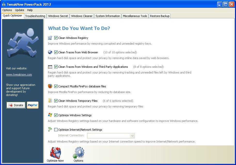 Страница быстрой оптимизации TweakNow PowerPack 2012 автор Шитов В.Н.