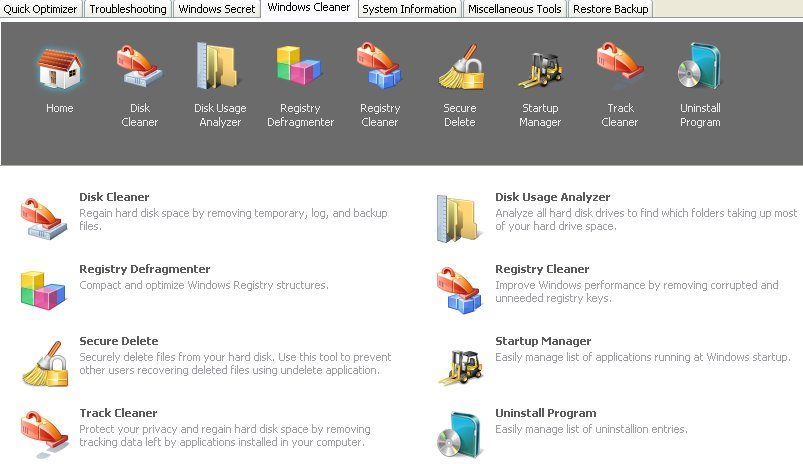 Вкладка Windows Cleaner (Очистка Windows) TweakNow PowerPack 2012 автор Шитов В.Н.