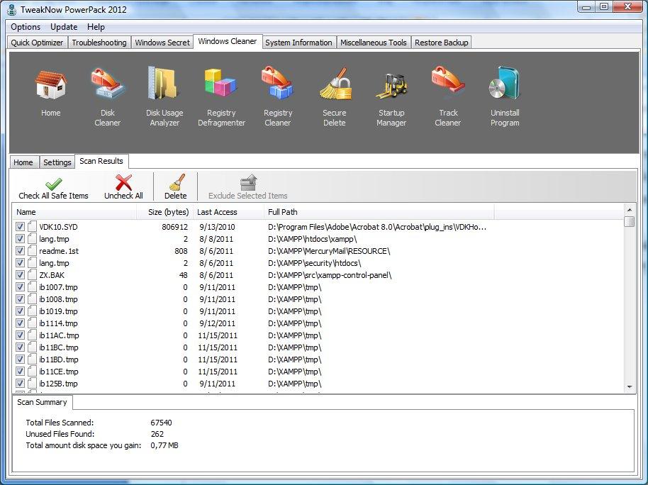 Найдены ненужные файлы TweakNow PowerPack 2012 автор Шитов В.Н.