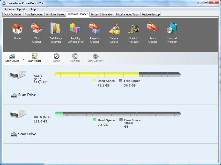 Выбор дисков для анализа TweakNow PowerPack 2012 автор Шитов В.Н.