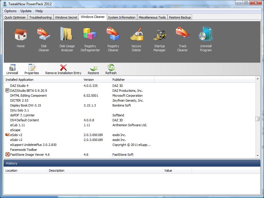 Список инсталлированных программ TweakNow PowerPack 2012 автор Шитов В.Н.