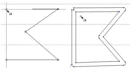 Обычный и трассированный контур многоугольника